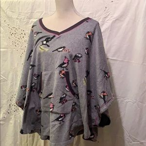 Cuddl Duds fleece sleepwear top cape birds 🦅 S